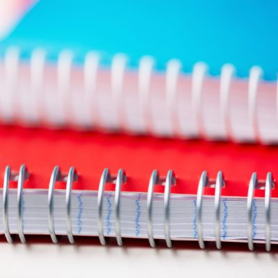 Extreme close-up of two notebooks